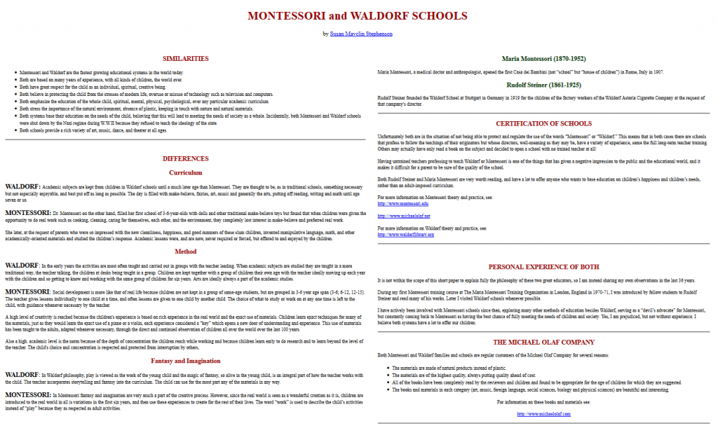 Analyse comparée des pédagogies Waldorf et Montessori